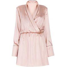 Lake Studio     Long Sleeve Wrap Mini Dress ($570) ❤ liked on Polyvore featuring dresses, lake studio, pink, pink dress, long sleeve short dress, short pink dress, long-sleeve maxi dresses and long dresses