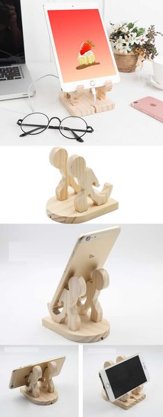 Wooden Humanoid Charge Cord Cable Organizer  Cell Phone iPhone Charging Station Dock Duck  Holder Business Card Holder