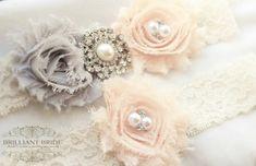 Blush and Gray Wedding Garter Set - Blush Pink Lace Bridal Garter Plus size garder belt Wedding Accessories Grey and Pink Wedding Garter Set