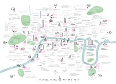 Big Political and Mental Map of London mercedes leon camberwell-illustration show