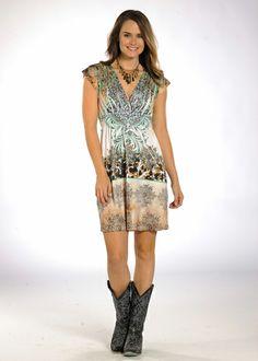Panhandle Slim Ladies Animal & Medallion Border Surplice Dress: Sierra…