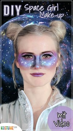 DIY - Space Girl Make-up Who hasn't dreamed of an unearthly costume? A space girl costume is anythin Space Costumes, Girl Costumes, Space Girl Kostüm, Maquillaje Cut Crease, Diy Maquillage, Arctic Fox Hair Color, Rides Front, Maquillaje Halloween, Ombre Hair Color