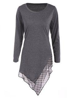 Women Casual Stitching Irregular Long Sleeve O-neck Mini Dress