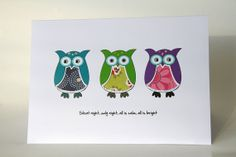Owl Christmas Card Novelty Christmas Card by Deliciousbits on Etsy, £2.50