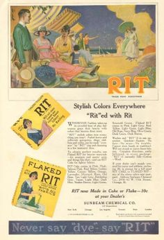 1919 antique RIT DYE Fabric Dress BEACH CHAIR Ocean Seaside FASHION Evans ART Ad picclick.com