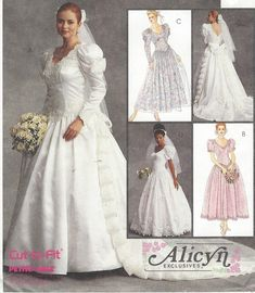 Alicyn Exclusives Womens Wedding Gown Detachable Train McCalls Sewing Pattern 6334 Size 12 14 16 Bust 34 36 38 FF Wedding Dress Patterns, Vintage Dress Patterns, Designer Wedding Dresses, Vintage Dresses, Vintage Sewing, Bridal Gowns, Wedding Gowns, Mccalls Sewing Patterns, Vintage Bridal