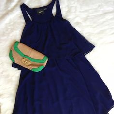 Maeve for Anthropologie Navy Blue Racer Back Dress A beautiful, flowing piece with an incredibly flattering neckline! Vintage feel, but in fabulous condition - no flaws! Great with wedges for the warm weather! Anthropologie Dresses
