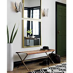 """gallery brass 33"""" square wall mirror"""