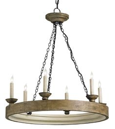 Currey and Company 9972 Beachhouse 6 Light Single Tier Chandelier London Black / Smokewood Crackle / Natural Indoor Lighting Chandeliers