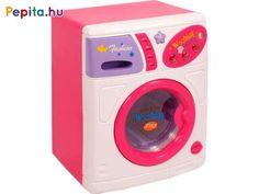 Tisztítsd meg a ruhákat a fehér-lila mosógéppel! Az Elemes mosógép egy nagyobb háztartási eszköz, amivel a ruhákat tisztává és puhává tudod varázsolni. A mosógép ajtaja kinyitható, a tartóba be tudod önteni a mosóport, ezután már csak indítsd el a megfelelő programot. A mosógép dobja forog, használat közben a gép fényeket is ad ki magából. Ha elkészült a mosás, ne felejts el kiteregetni! A fehér-lila Elemes mosógép 4 db AA ceruzaelemmel működik, a csomagolás az elemeket tartalmazza. Mosógép… Washing Machine, Home Appliances, Dominatrix, House Appliances, Appliances