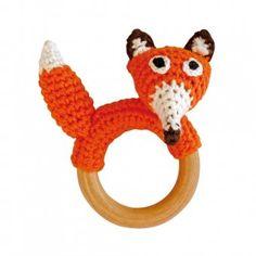 Fuchs-Rassel auf Beißring aus Holz (Orange) Gehäkeltes Greifspielzeug - aus der Produktlinie Spielzeug auf Sindibaba.com