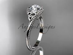 14kt white gold celtic trinity knot wedding ring by anjaysdesigns
