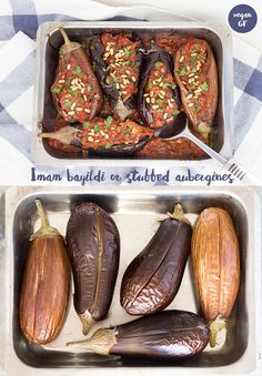 Delicious Greek, summer dish. Plump aubergines with an aromatic stuffing baked in the oven until tender.