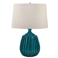 "Ribbed Terra Cotta 24"" H Table Lamp"
