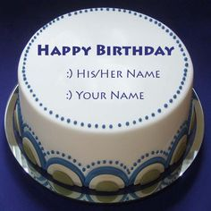 Write Your Friend Name On Violet Flowers Birthday Cake Birthdays