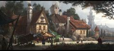ArtStation village J K Shin Fantasy city Fantasy landscape Fantasy places