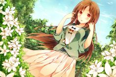 ✮ ANIME ART ✮ music. . .listening to music. . .ipod. . .earbuds. . .flowers. . .garden. . .nature. . .long hair. . .cute. . .kawaii