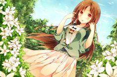 ✮ ANIME ART ✮ music. . .listening to music. . .ipod. . .earbuds. . .flowers. . .garden. . .nature. . .long hair. . .cute. . .kawaii