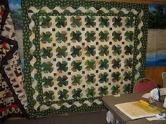 This quilt is fun -- Four Leaf Clovers!