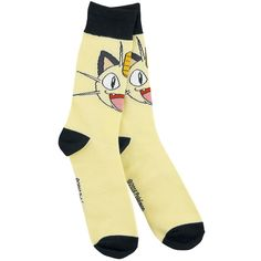 Meowth Socks by Pokémon:    - bright yellow socks with Meowth head  - black ribbed cuffs  - from heel to cuff approx. 19 cm (in size 39-42)  - cuff width approx. 7.5 cm, stretch (in size 39 -42)