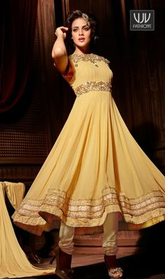 Fabulous Beige Georgette Anarkali Style Salwar Suit Fabulous beige georgette anarkali salwar suit with embroidery, resham, zari, lace and patch border work.