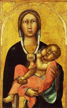 1375 Madonna and Child, c 1370's  (Paolo di Giovanni Fei) (ca. 1345-1411)  Breast feeding...clavicle breast feeding,