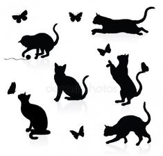 two cats playing clip art silhouette - Yahoo Image Search Results Tattoo Chat, Silhouette Chat, Black Cat Tattoos, Cat Quilt, Cat Pattern, Cat Drawing, Cat Art, Cats And Kittens, Sketches