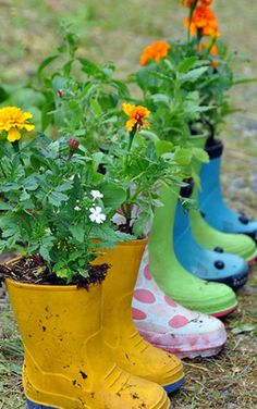 Have your kids outgrown their rain boots? Don't throw them out—put them to good use by filling them to the brim with some soil and your favorite flowers.