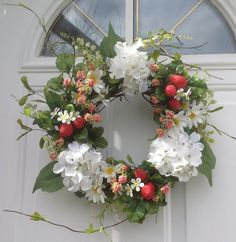 Red Strawberry And Cream Hydrangea Wreath For Front Door Summer Wreath Spring Wreath Kitchen Decor Kitchen Wreath Mother's Day Gift 18 Inch by WreathsForDoor on Etsy https://www.etsy.com/listing/231534115/red-strawberry-and-cream-hydrangea