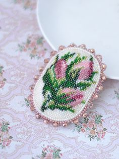 Rose brooch Bead embroidery jewelry Vintage style Floral Design Artisan beadwork Seed beads rose Victorian style
