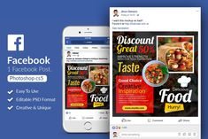 Food Restaurant Facebook Post by Design Up on @creativemarket