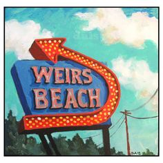 Weirs Beach Greeting Card - New Hampshire - Daisy Adams - Summer - Neon Sign - Nostalgia -Laconia NH, Lake Winnipesaukee