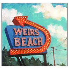 Weirs Beach Greeting Card - New Hampshire - Daisy Adams - Summer - Neon Sign - Nostalgia -Laconia NH, Lake Winnipesaukee
