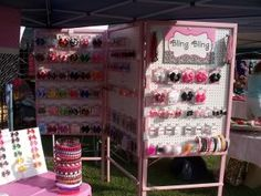 Portable Displays for Craft Shows   anyone need headband displays? - Hip Girl Boutique Free Hair Bow ...
