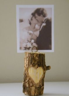 DIY carved branch photo holder #wedding #decorations #centerpiece