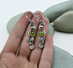 Wire wrapped earrings 925 sterling silver and by MoonGlowJewelry, $34.00