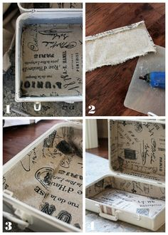 Curbside Suitcase Makeover How to line a trunk or suitcase from Confessions of a Serial Do-it-Yourselfer. Love the idea of using burlap in this project! Trunk Redo, Trunk Makeover, Vintage Suitcases, Vintage Luggage, Decoupage, Suitcase Decor, Painted Suitcase, Suitcase Storage, Craft Projects
