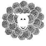 Yarn Sheep designed by a Cafe Press user (name not specified). Available on black and white, or colored tee shirts.