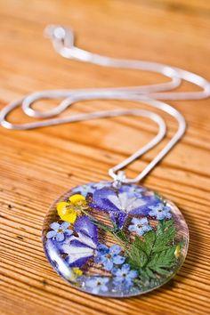 De tegenhanger van de hars van echte bloem zilveren door SOrepublic