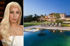Lady Gaga's Oceanfront Malibu Estate for $23 million on 10,000 square foot Malibu compound this mansion is reminiscent of a Mediterranean villa, complete with mountain and ocean views.  With nearly 6 acres of property all to herself, a great place to unwind from the public eye.