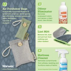 Norwex (1) Air Freshener Bags, (2) Odour Eliminator , (3) Lint Mitt, (4) Mattress Cleaner. For Facebook parties, online events and marketing.