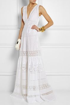 White broderie anglaise cotton Concealed hook and zip fastening at side cotton; Plus Size Maxi Dresses, White Maxi Dresses, White Dress, Summer Dresses, Summer Maxi, Casual Summer, Formal Dresses, Roberto Cavalli, White Fashion