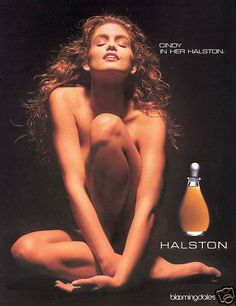 halston ad -1990 cindy crawford