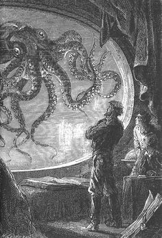 "Illustration for Jules Verne's ""20,000 Leagues Under the Sea""."
