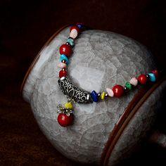 Handmade jewelry choker necklace short black beads chain zinc alloy flower red natural stone ball pendant ethnic