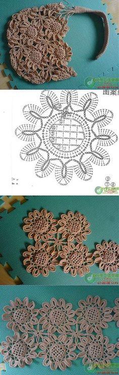 Crochet Handbags Gift presents for women: Sunflower bag, free crochet patterns - Gift presents for women: Sunflower bag, free crochet patterns Pull Crochet, Bag Crochet, Crochet Motifs, Crochet Diagram, Crochet Handbags, Crochet Purses, Crochet Chart, Crochet Squares, Crochet Gifts