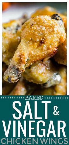 These Baked Salt & Vinegar Chicken Wings have all the flavor of the classic chips! Salty, tangy and craveworthy, they are incredibly addictive! Turkey Recipes, Chicken Recipes, Shrimp Recipes, Pork Recipes, Cooking Recipes, Healthy Recipes, Cooking Games, Healthy Cooking, Healthy Wings Recipe