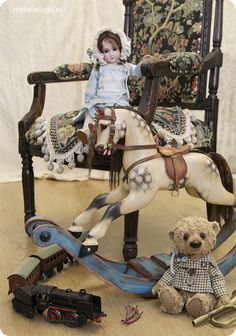 my toys collection Dolls Prams, Wooden Horse, Doll Display, Vintage Horse, Carousel Horses, Rustic Baby, Old Dolls, Equine Art, Retro Toys