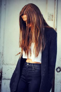 Simple white crop top, high waisted skinnies, & thick, blue cardi // fall <3