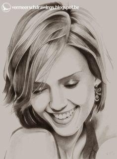 Jessica Alba Portrait by Martin--Art Beautiful Pencil Drawings, Pencil Portrait Drawing, Realistic Pencil Drawings, Girl Drawing Sketches, Portrait Sketches, Amazing Drawings, Portrait Art, Horse Drawings, Pencil Portrait